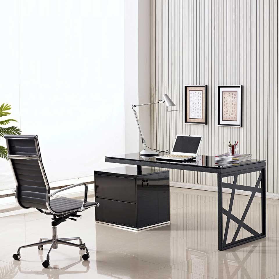 Modern black glass desk office computer table black for Modern affordable office furniture