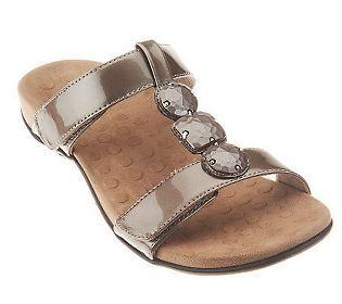 89e850d8ea32f Vionic w/ Orthaheel T-Strap Adj. Slide Sandals - Albany | Fashion ...