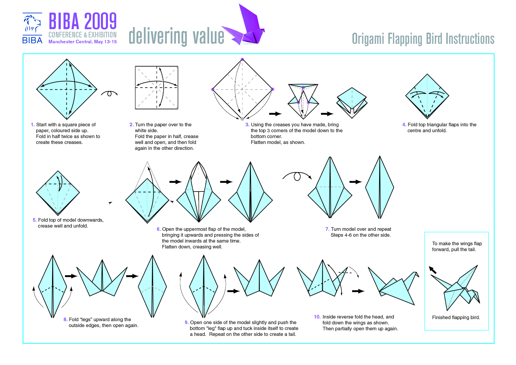 Flapping Bird Origami Instructions