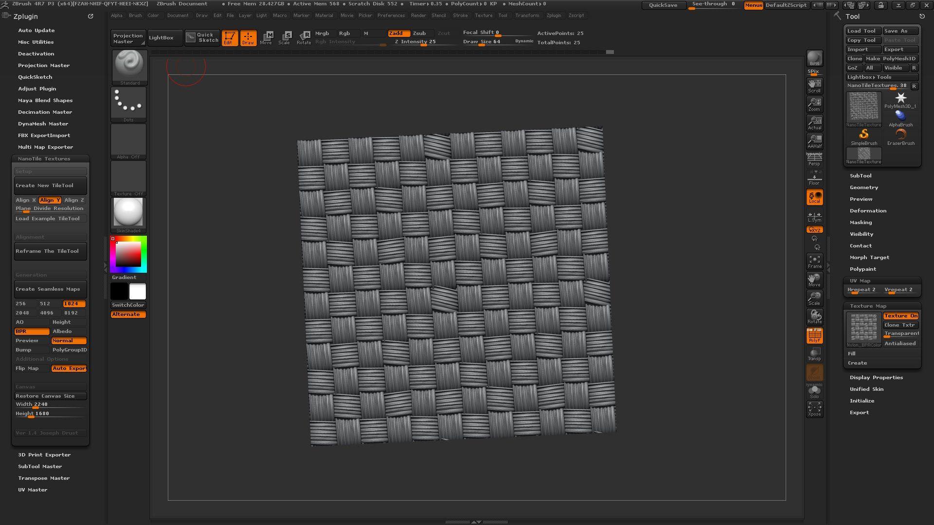 ZBrush 4R7 P3 - 'NanoTile Textures v1 4' Unofficial ZPlugin