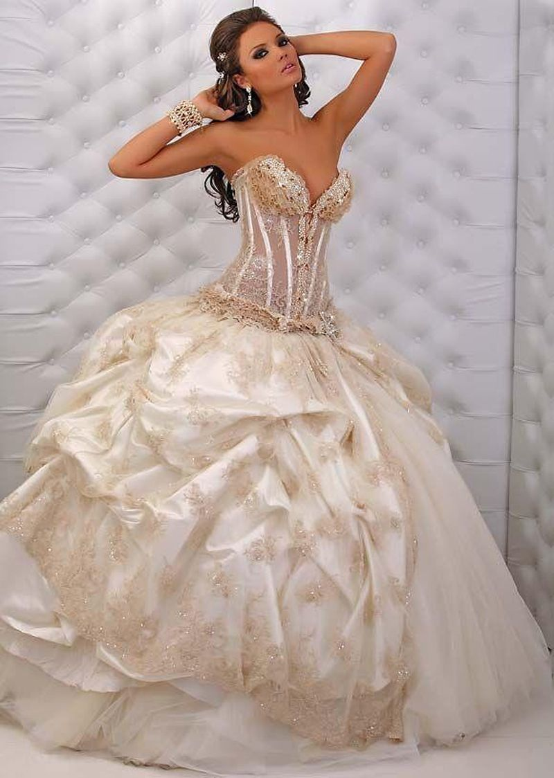 Free Shipping 2014 Ball Gown Appliqued Corset Top Champagne Tulle Vestido de Noiva Custom Made Wedding Dresses 2014 $259.76