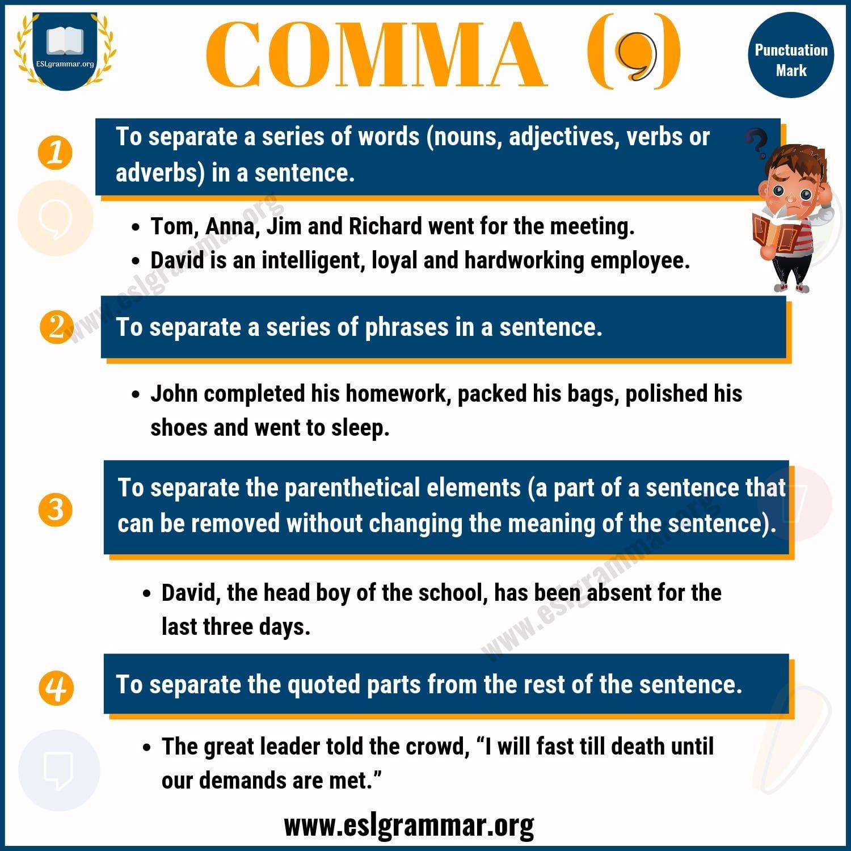 Comma Rules Comma rules, Grammar lessons, Grammar