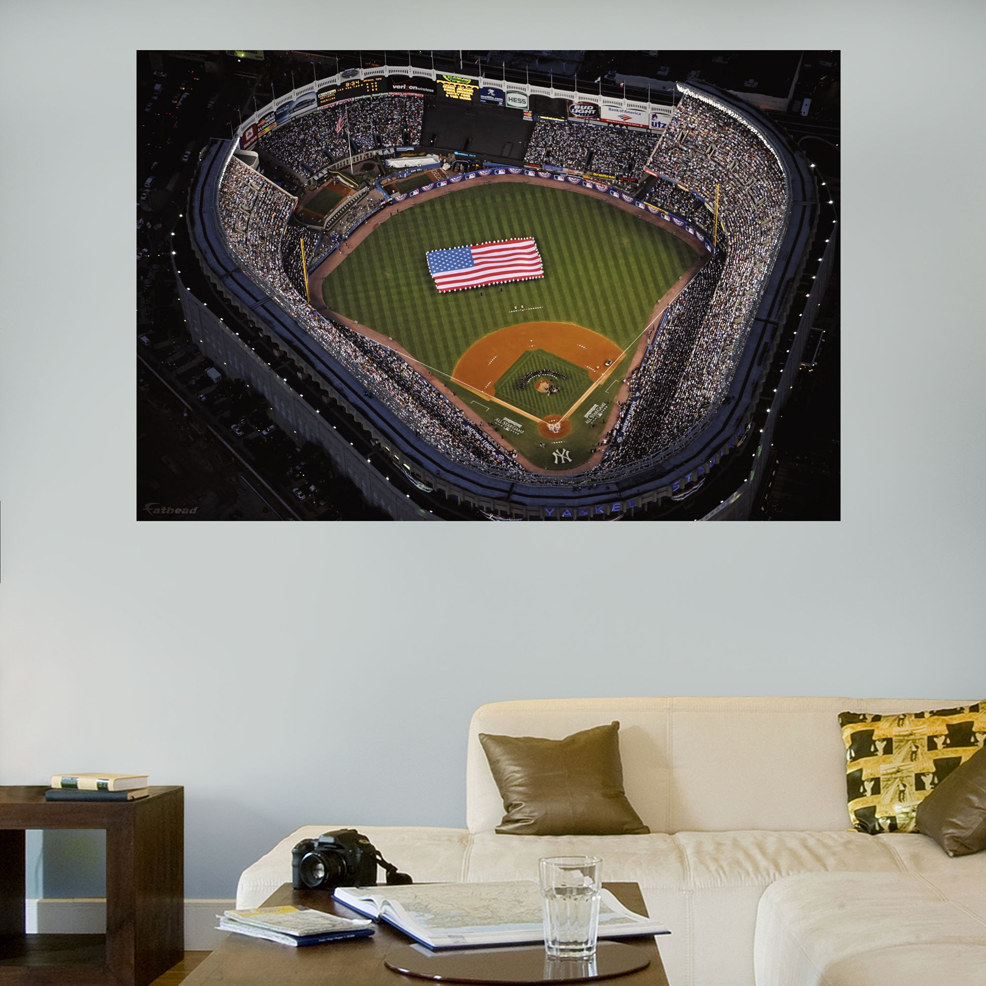 Old Yankee Stadium Aerial Mural Wall Graphic New York Yankees Decal Sports Décor Baseball Bedroom Man Cave Nursery