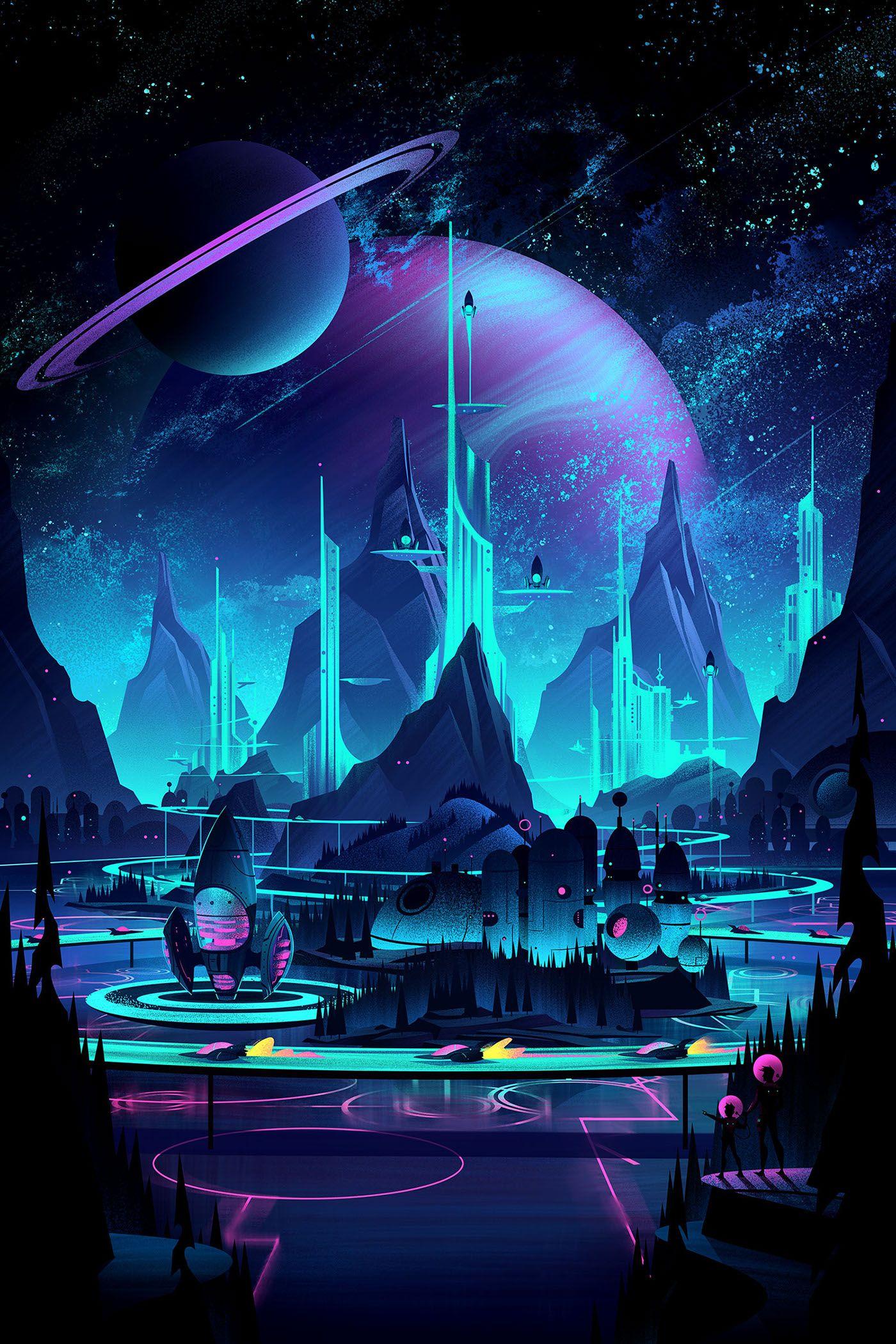 Space Park Board Game on Behance Fantasy landscape