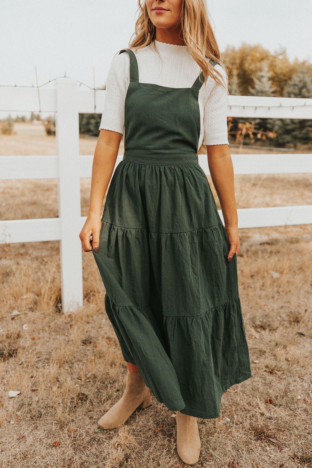 Tristan Dress Hunter Green Love Olive Co Boho Fall Outfits Dresses Overall Dress [ 1536 x 1024 Pixel ]