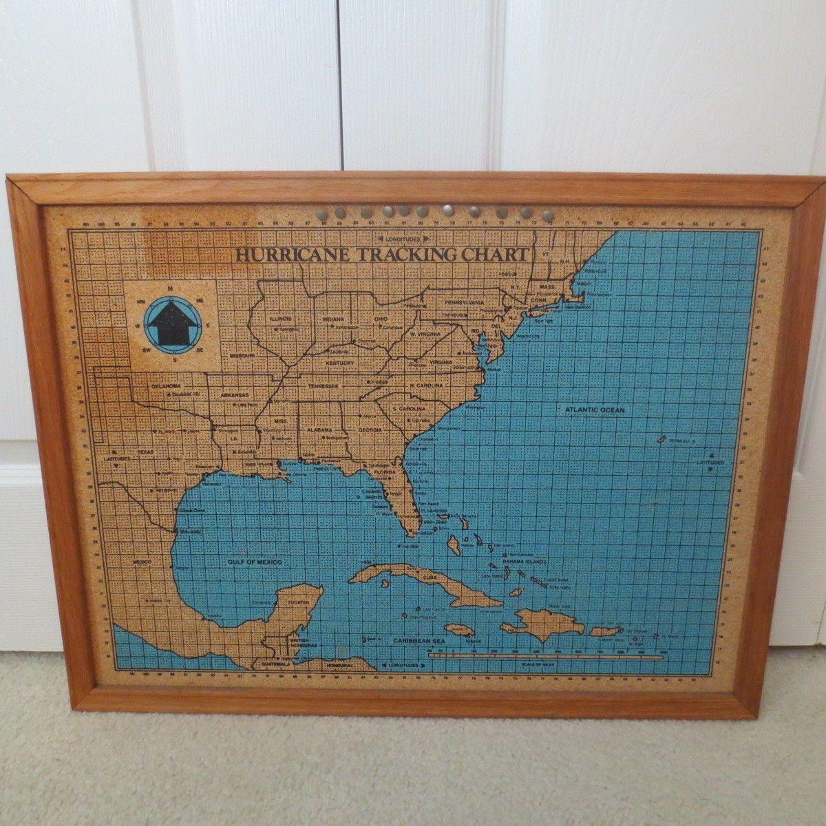 Vintage Hurricane Tracking Chart Wall Cork Board 24 Cork Board Hurricane Chart