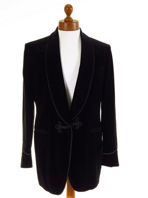 Turnbull & Asser black velvet smoking jacket mens 40L UNWORN - Tweedmans Vintage