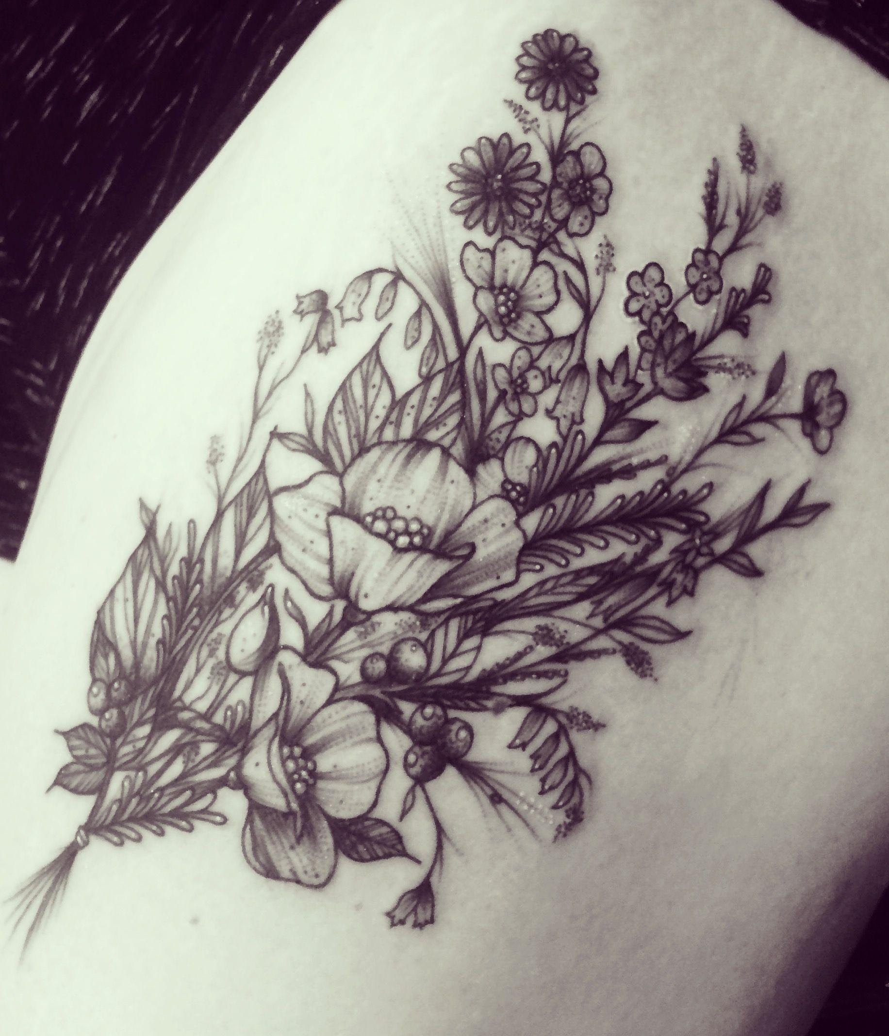 Flower tattoo wildflower thigh tattoo black and white floral flower tattoo wildflower thigh tattoo black and white floral tattoo womens tattoo dhlflorist Images