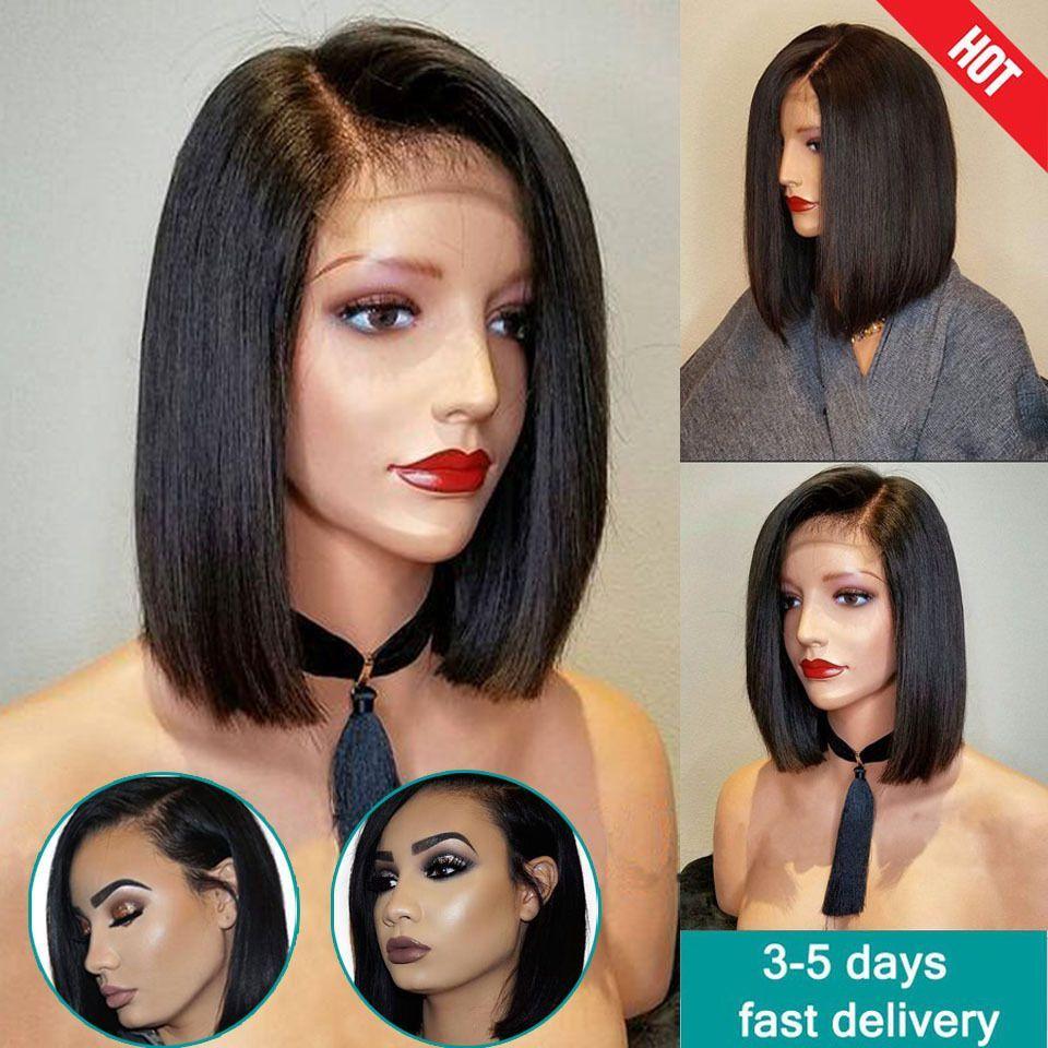 Glueless Full Lace Wig Brazilian Human Hair Lace Front Wigs Black Short Bob  Wave  5f40416c21ef