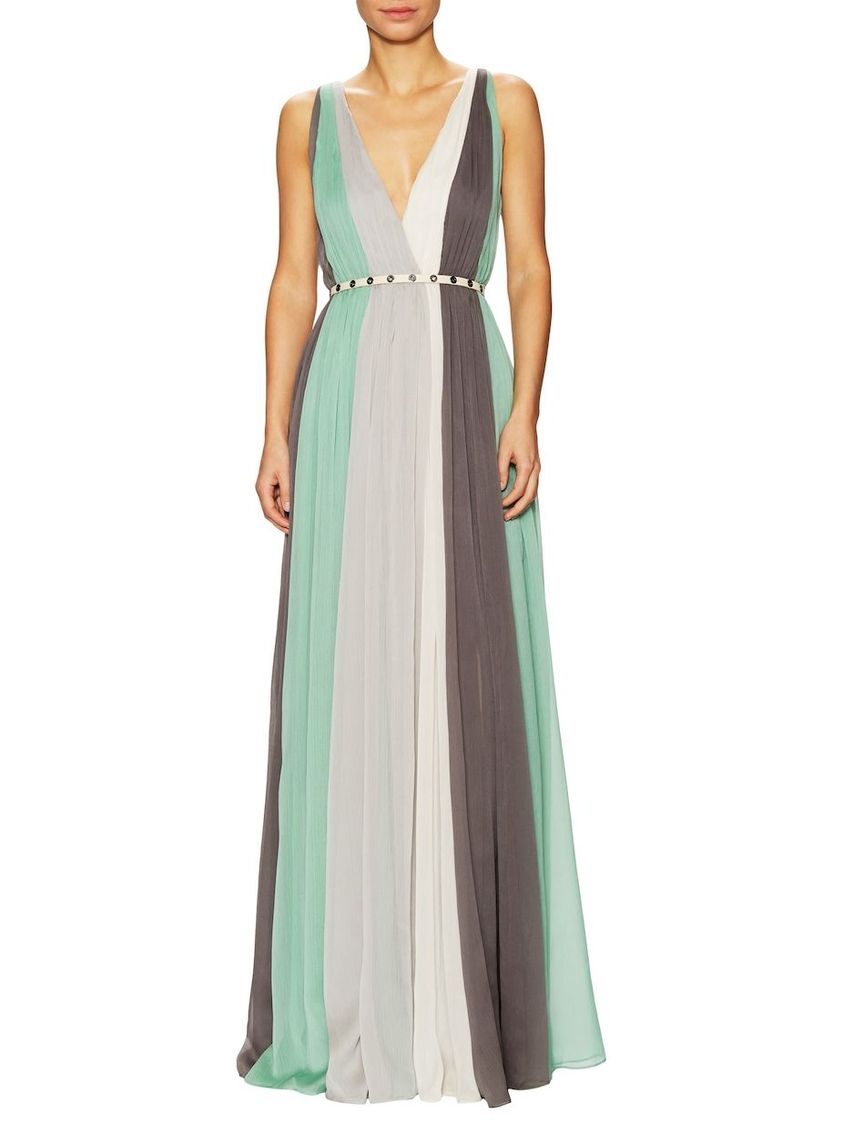 Halston Heritage Colorblocked Pleat Chiffon Gown | women\'s fashion ...