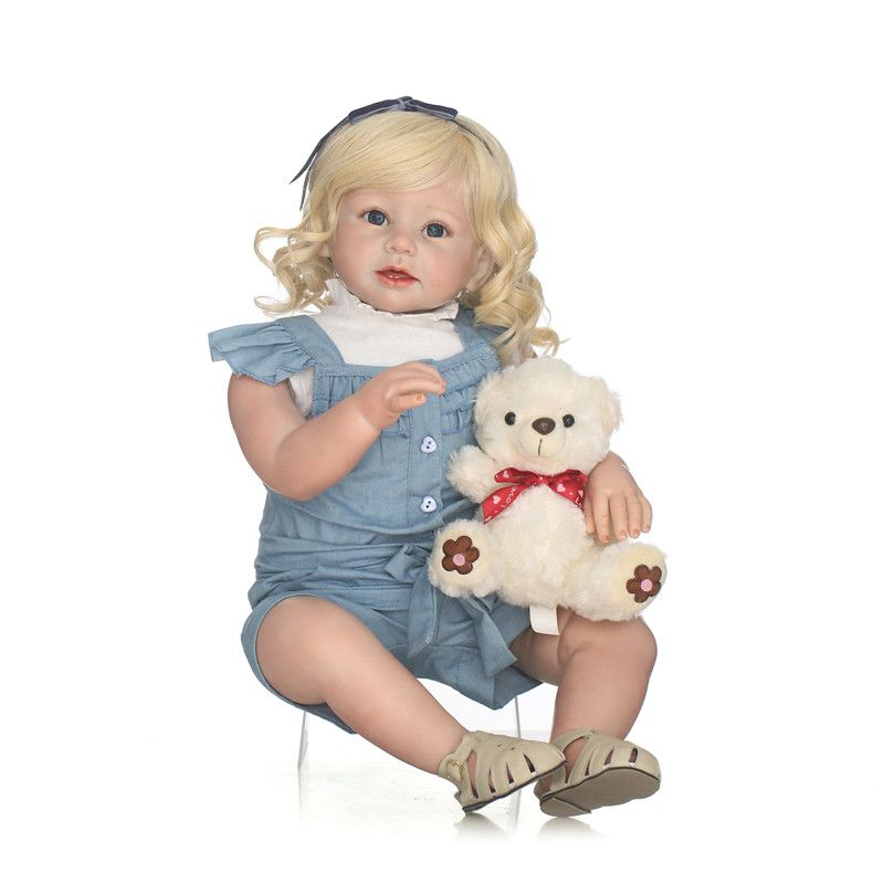 "NPK 28/"" Reborn Baby Doll Lifelike Toddler Doll Soft Silicone Girl Toys Boneca"
