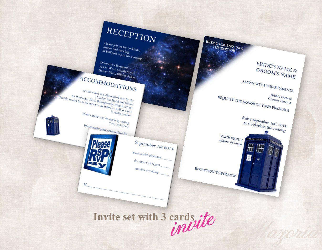 Editable Doctor Who Wedding Invitation Color tardis blue  Etsy