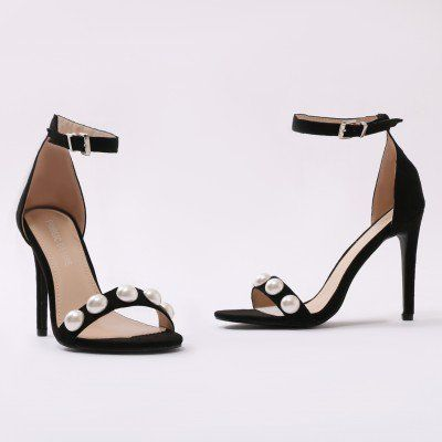 b602ea51702 Shirley s Wardrobe Reef Pearl Barely There Heels in Black Faux Suede ...