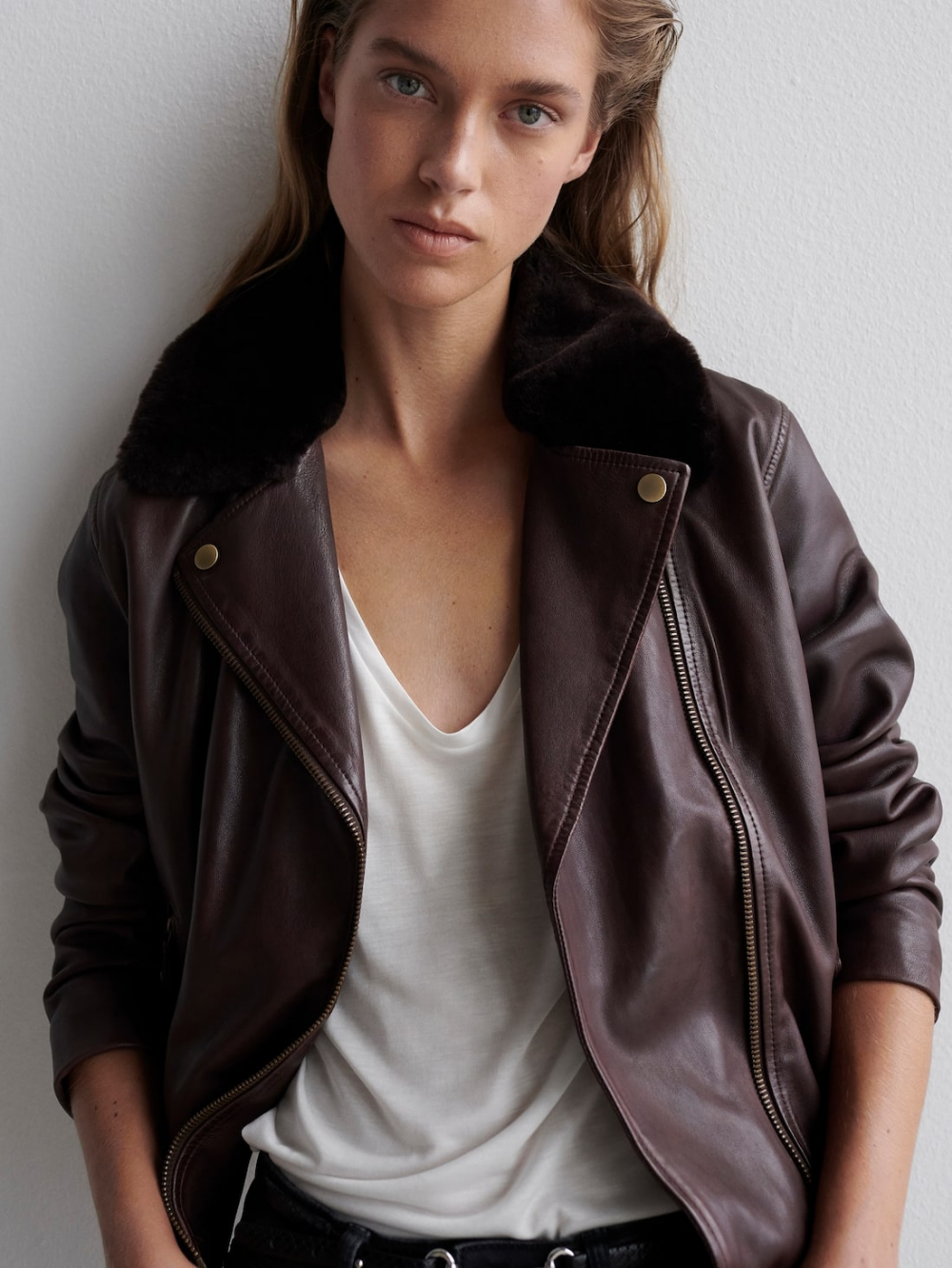 New In Collection For Women Massimo Dutti Spring Summer Leather Biker Jacket Detachable Collar Jackets