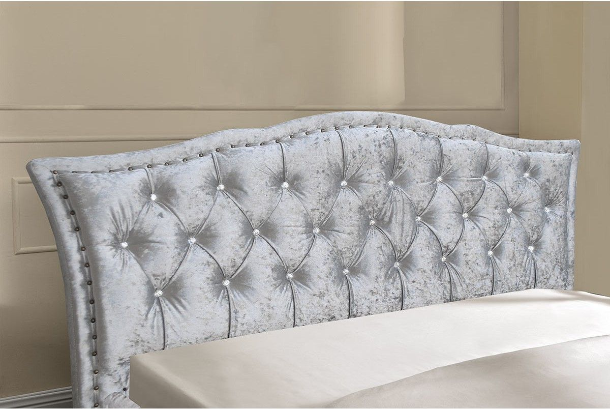 Crushed Silver Fabric Diamante Headboard Bed