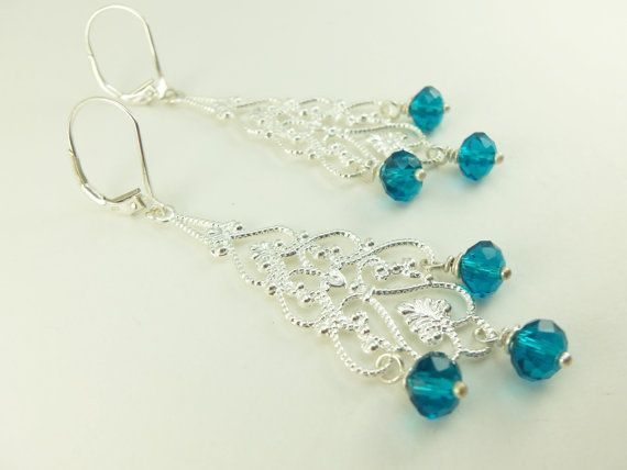 Teal chandelier earrings victorian long dangle earrings teal teal chandelier earrings victorian long dangle earrings teal crystal beaded chandelier earrings mozeypictures Images