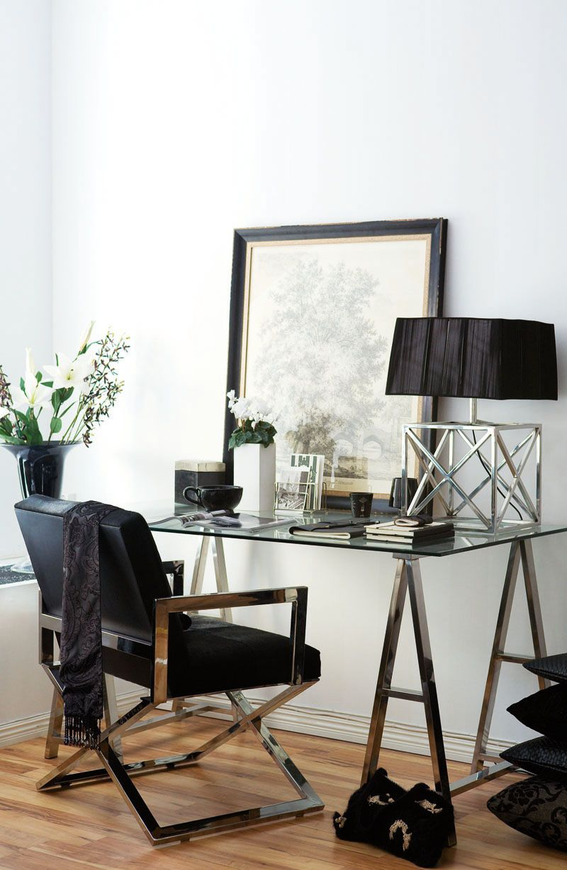 The Perfect Glass Top Desk for Our Home Office   Writing desk, Desks ...