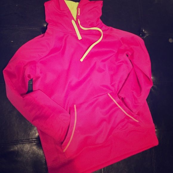 Hot pink reebok hoodie Super light weight hot pink and lime green hoodie Reebok Sweaters