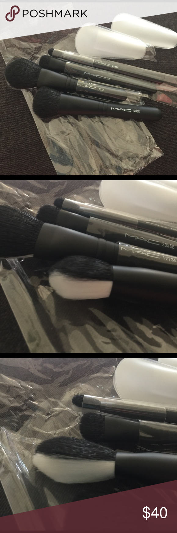 MAC Cosmetics 4 piece make up brushes Brand New never used, still in plastic wrap. Only removed for photos. Numbers are on the handles. Black & white brushes MAC Cosmetics Makeup Brushes & Tools