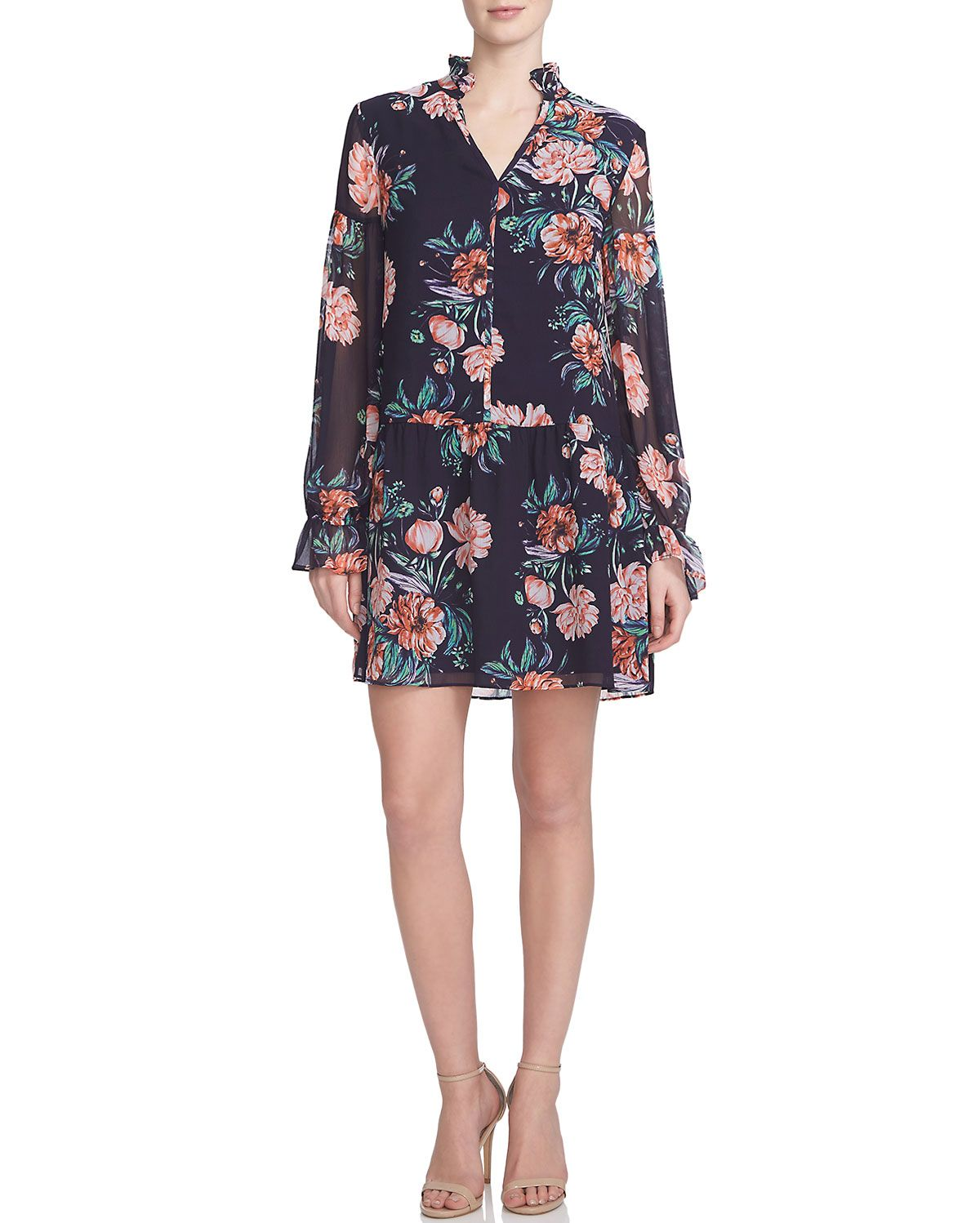 Floral-Print Dropped-Waist Dress, Poppy - Cynthia Steffe