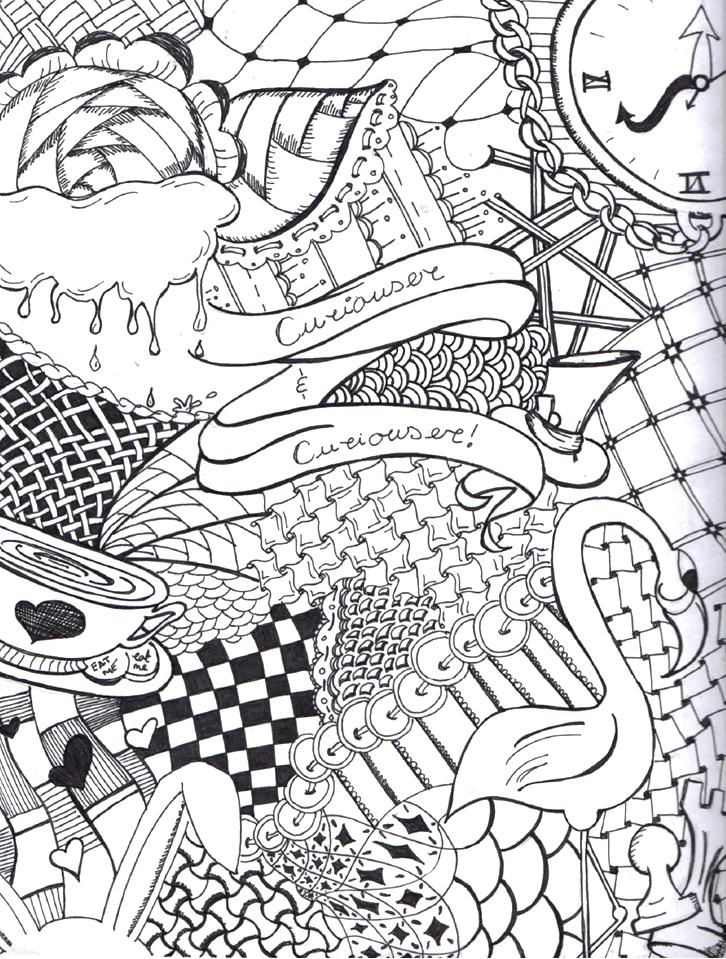 Alice In Wonderland Doodle Abstract Coloring Pages