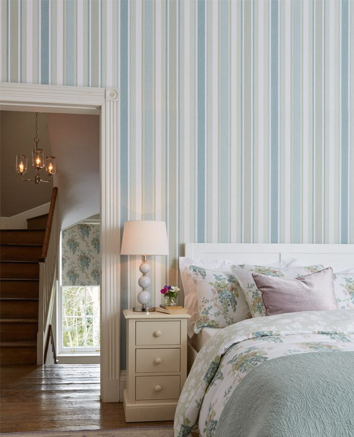 Awning Stripe Duck Egg Pistachio Wallpaper Lauraashleyhome