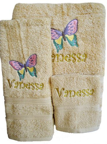 Decorative Bath Towel Sets Butterfly Towel Set  Towels Butterfly And Initials