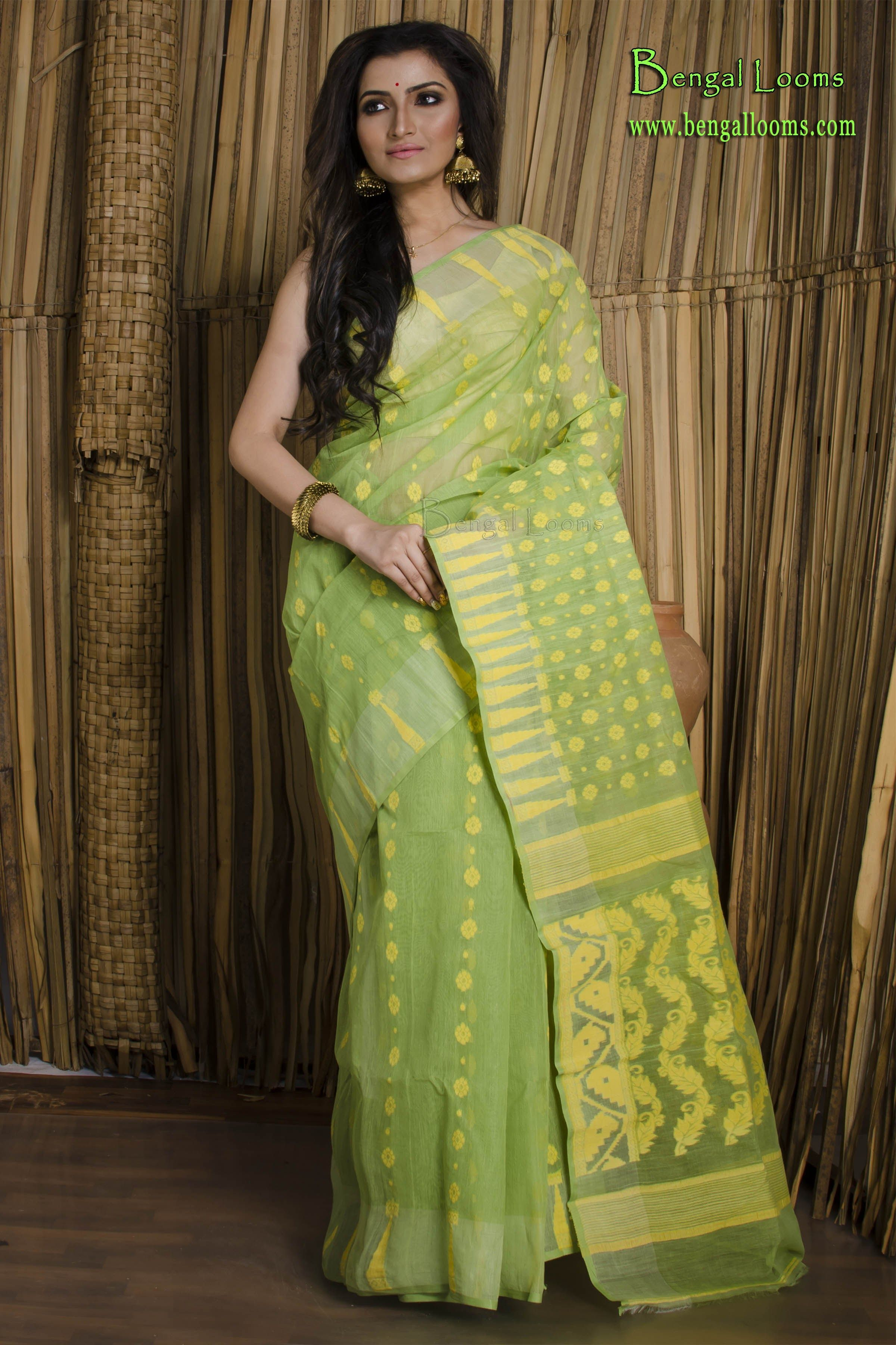 3402fc8851 Handwoven Dhakai Jamdani Saree in Green and Yellow | Handwoven ...