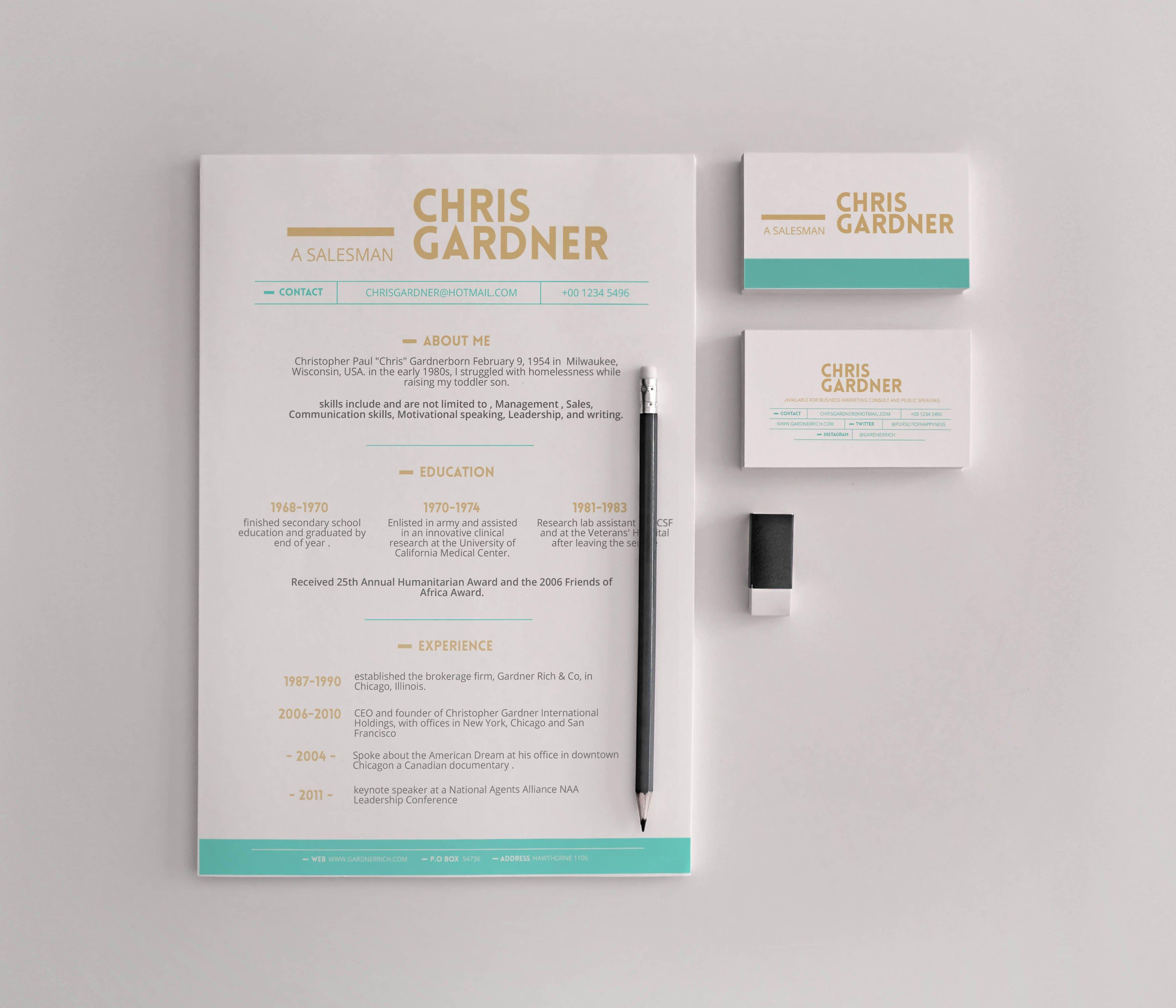free minimalistic resume business card