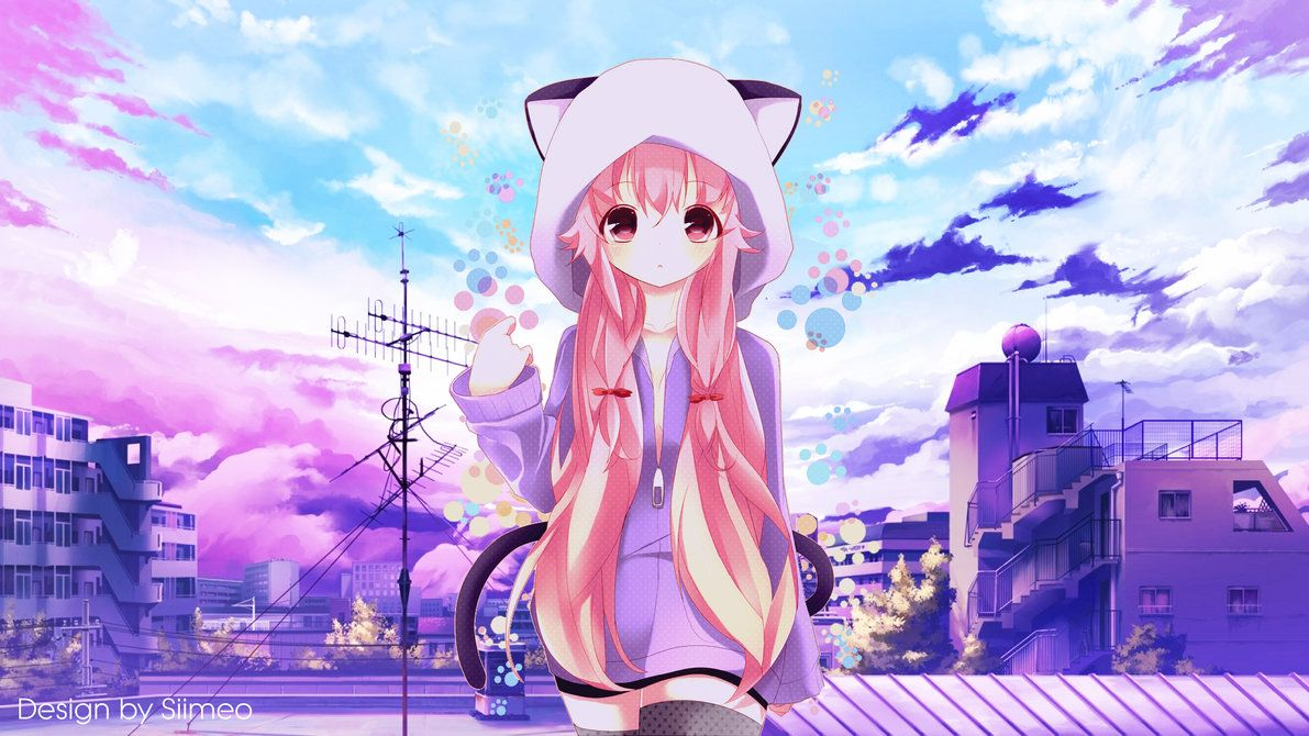 Anime Wallpaper 1920 X 1080 Gasai Yuno Mirai Nikki A Simple Purple Day