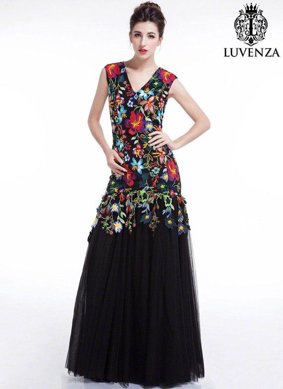 fadf7c30e21 Colorful Floral Embroidery Black Maxi Evening Dress  Floor Length Mermaid  Silhouette Cap Sleeve Prom