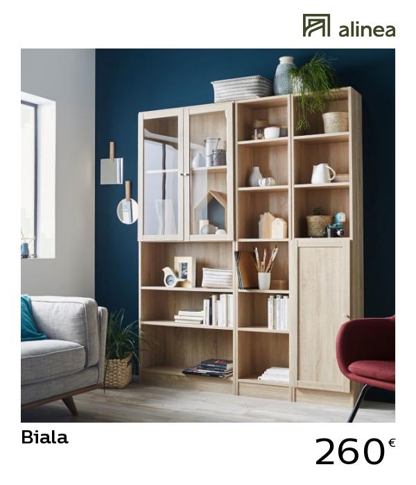alinea biala bibliotheque avec portes