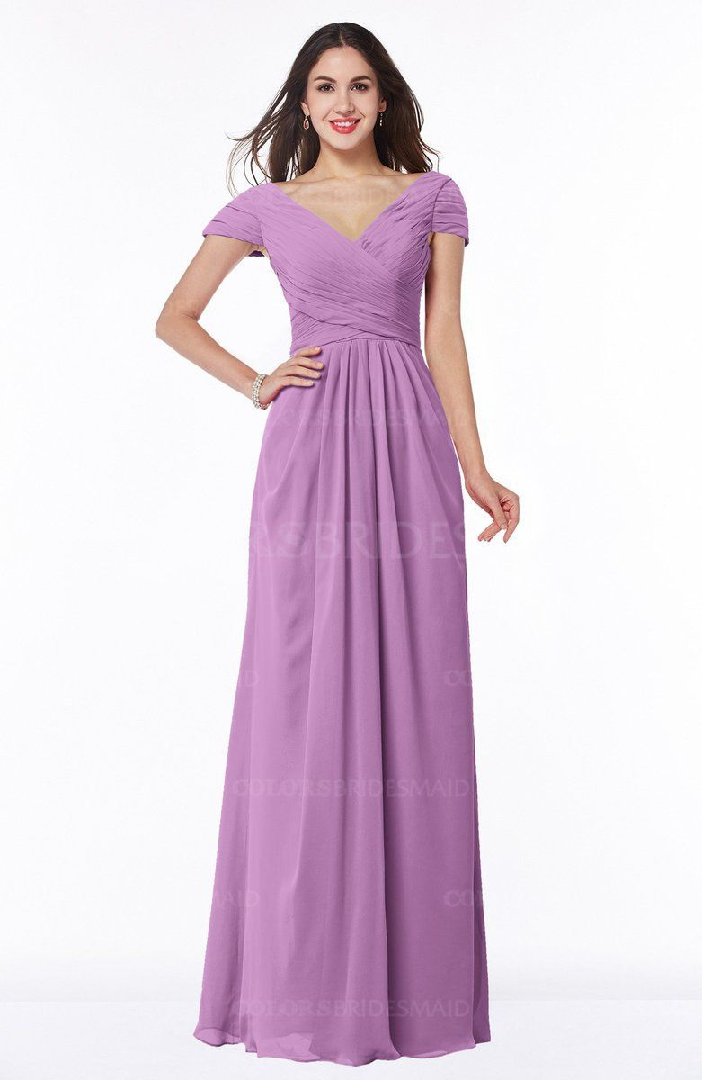 Orchid Glamorous A-line Short Sleeve Floor Length Ruching Plus Size ...