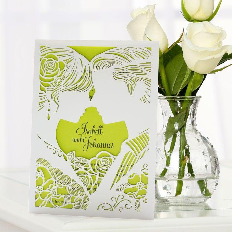 Einladungskarte Hochzeit Liebespaar Grün