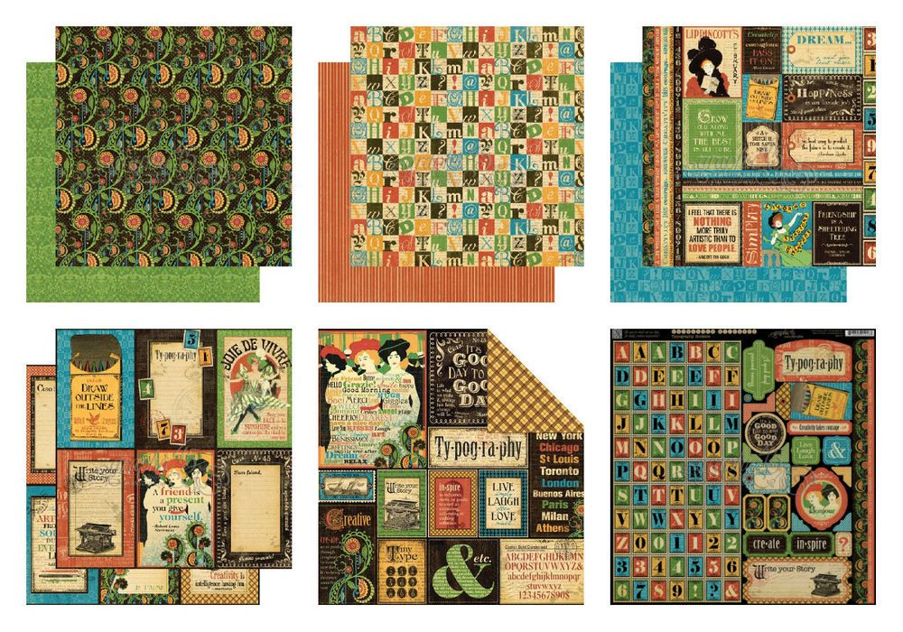 GRAPHIC45 TYPOGRAPHY 12 x12  PAPER PACK X6 SHEETS SCRAPBOOKING CARDMAKING