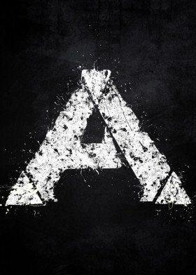 ark survival evolved splat splatter white black symbol logo grunge distressed fandom video game gaming triangle dinos dinosaur mmo
