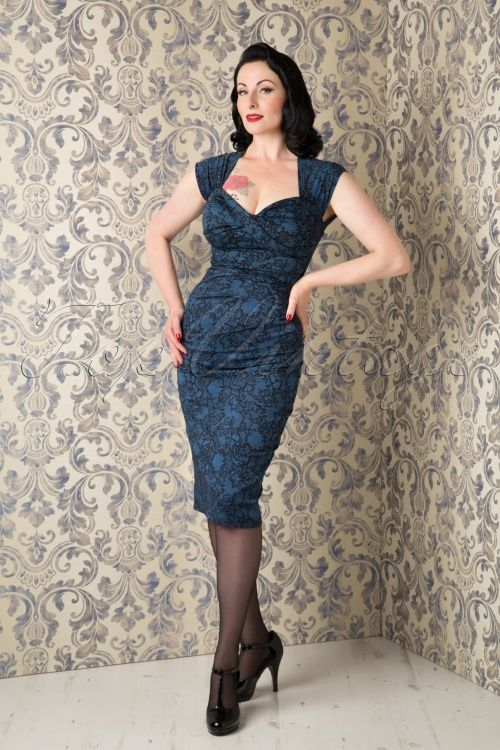 The stunning Ava Elderwood wearing our 50s Love Bow Pencil Dress in Blue Lace by Stop Staring! #AvaElderwood @avaelderwood
