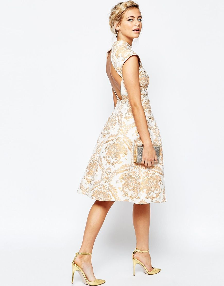 ea4890e27c Image 4 of Chi Chi London High Neck Structured Skater Dress In Baroque Print