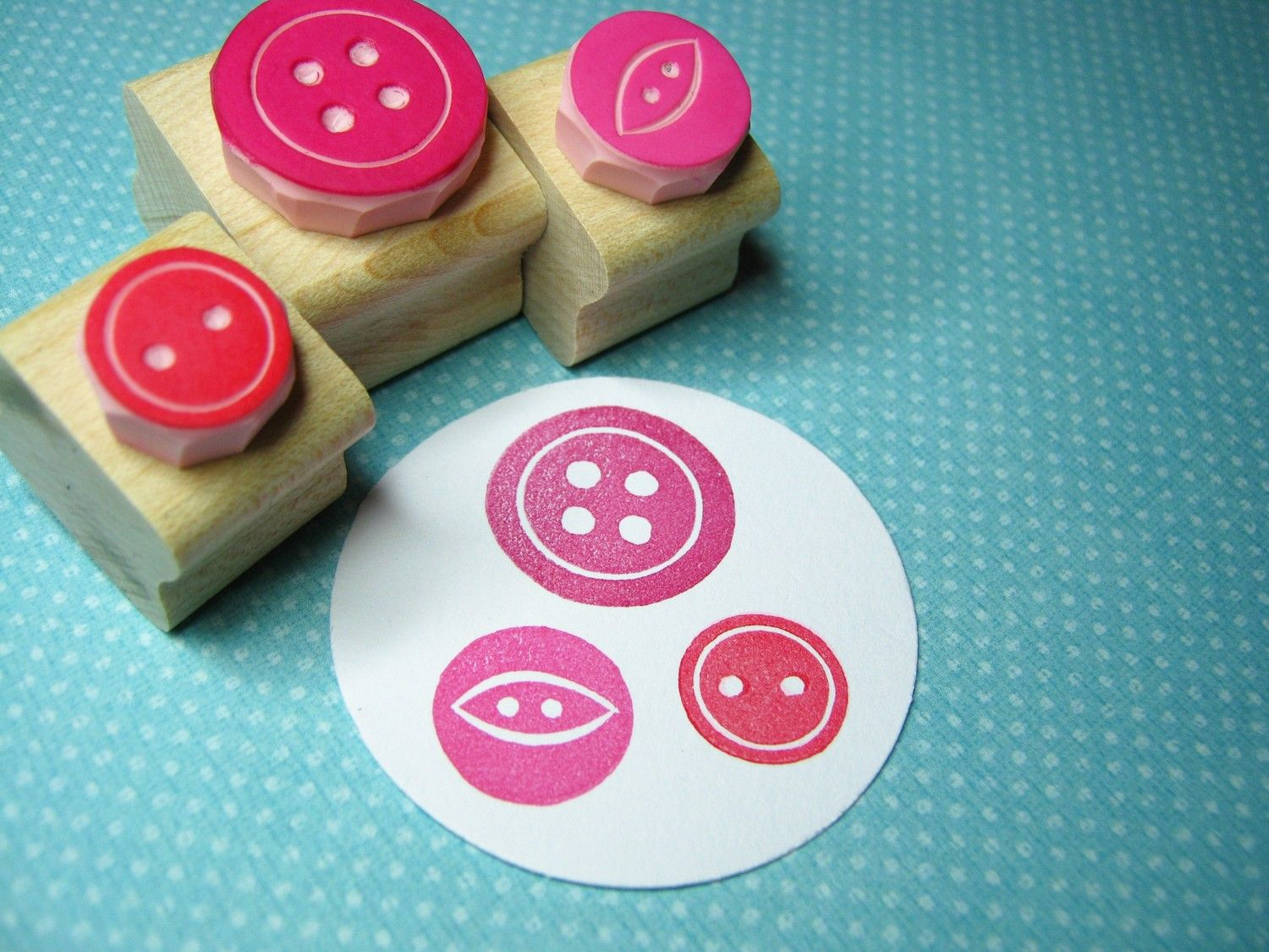Sweet Three Button Set - Hand Carved Rubber Stamps. £8,50, via Etsy.
