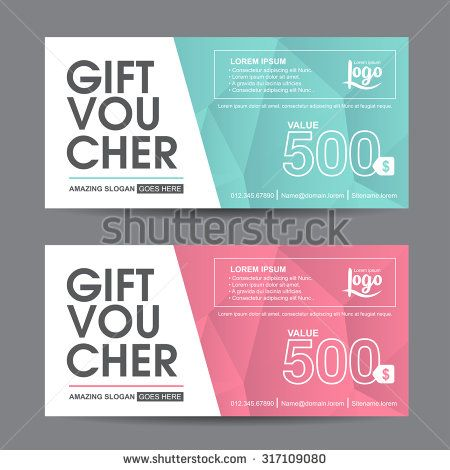 Gift voucher template with colorful pattern,cute gift voucher - gift certificate template in word