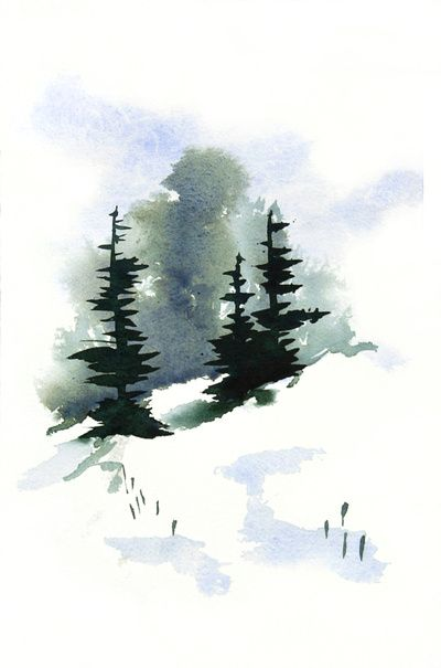 Snowy Hillside Watercolor Paintings Easy Watercolor Art Prints
