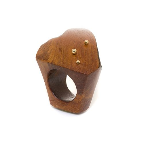 Dean Harris - hand carved Sahara wood natural edge ring with 18k yellow gold droplets --  975$