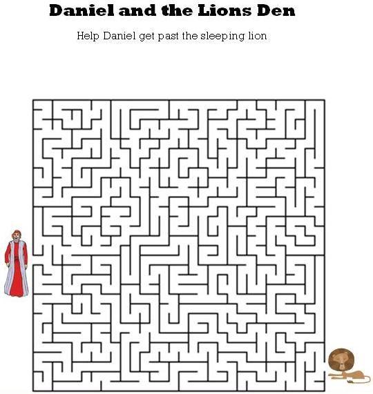 Daniel and the Lions Den Maze | Kids Bible Mazes ...