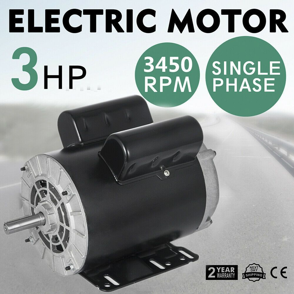 5HP SPL Compressor Duty Electric Motor 1 Phase 3450 RPM 56 Frame Shaft 230V 60Hz