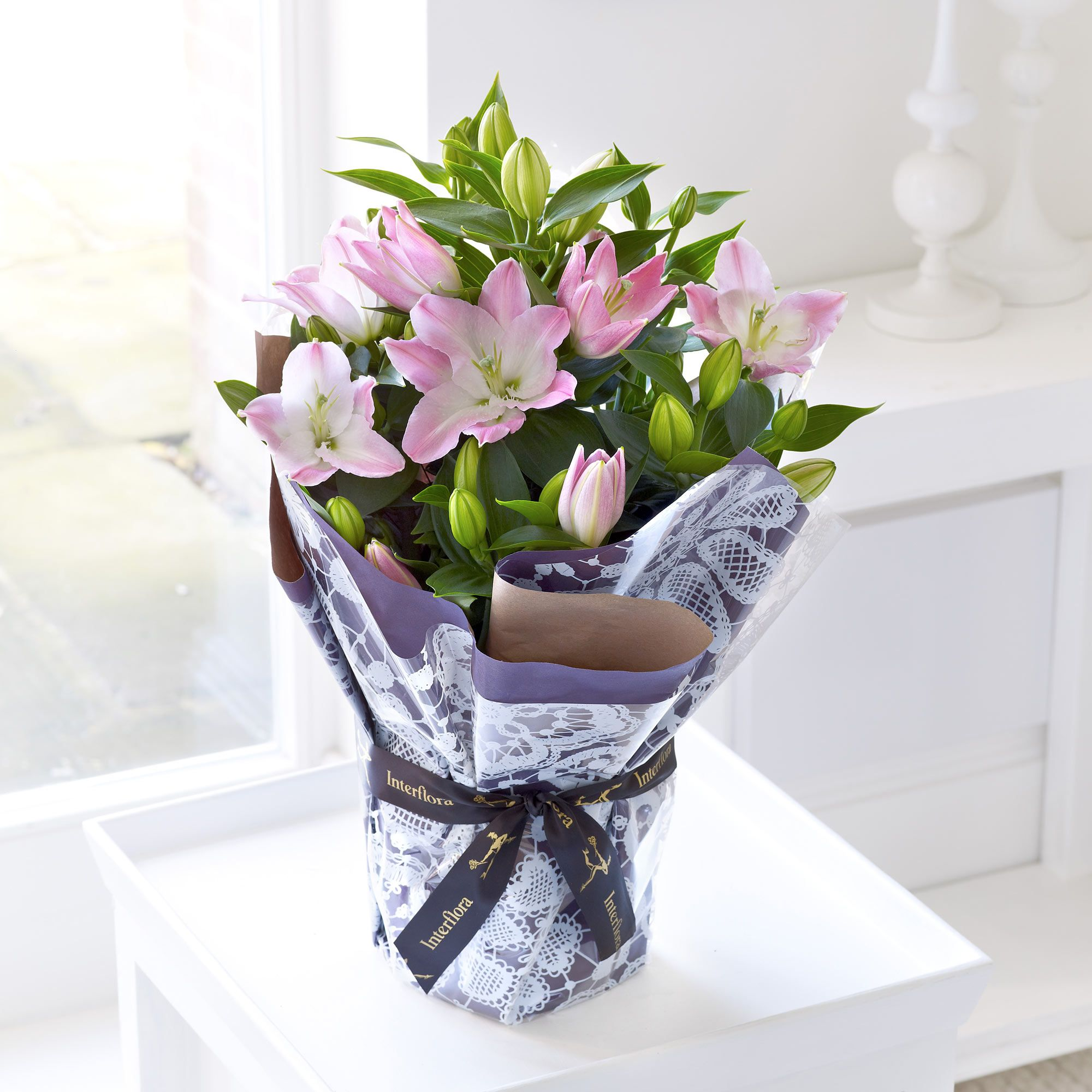 Soft and subtle colours emit from this gift wrapped lily