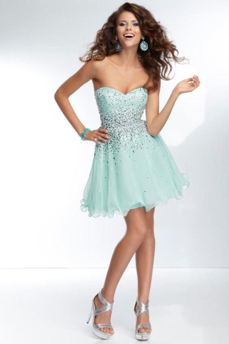 Start out searching for your perfect short strapless light green