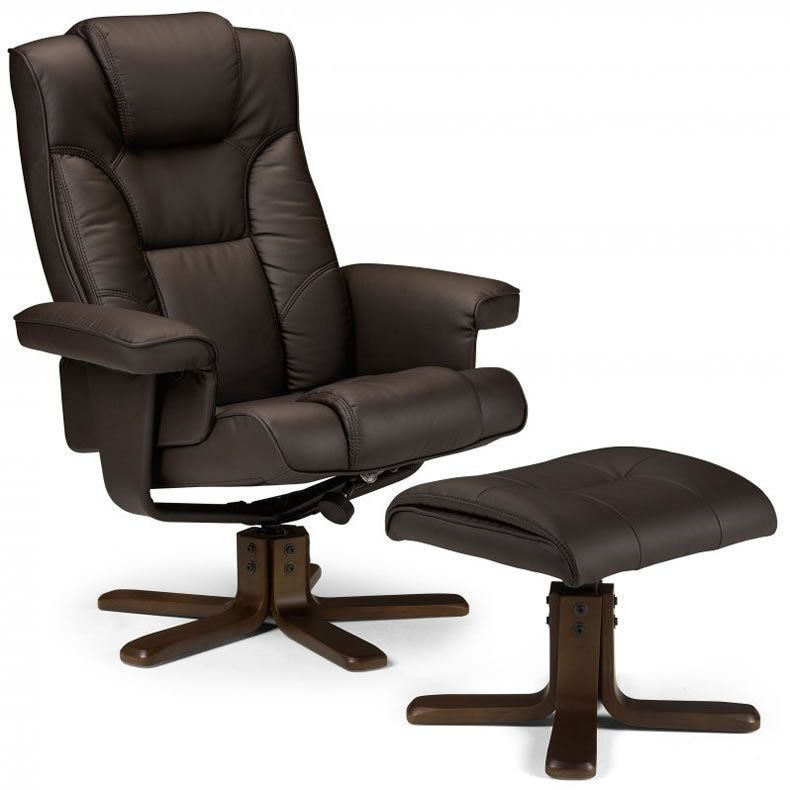 Brown Swivel Recliner Armchair Footstool Faux Leather Wooden Seat Chair  Office