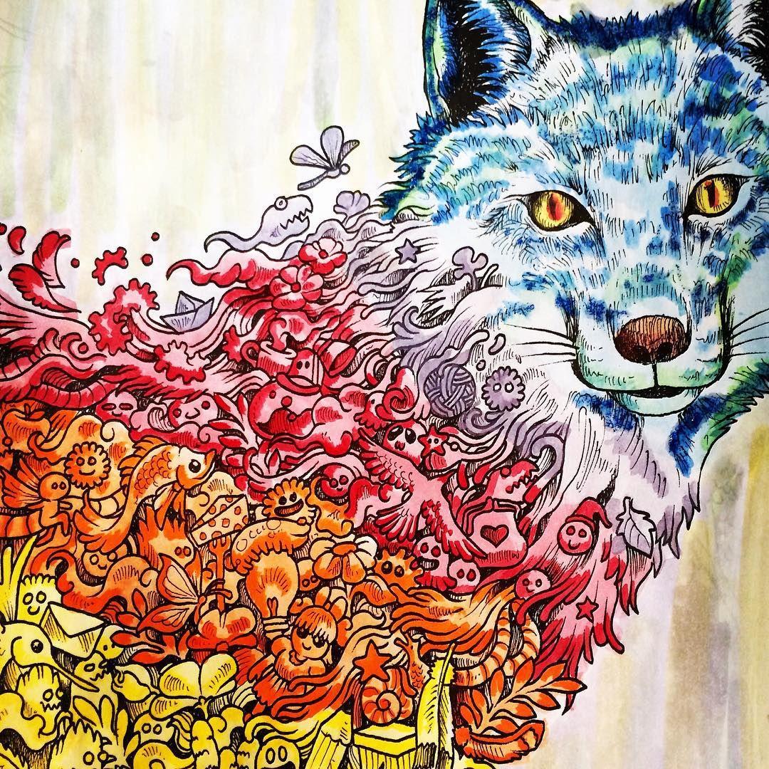Foxie. #animorphia #painting #doodle #adultcoloringbook ...