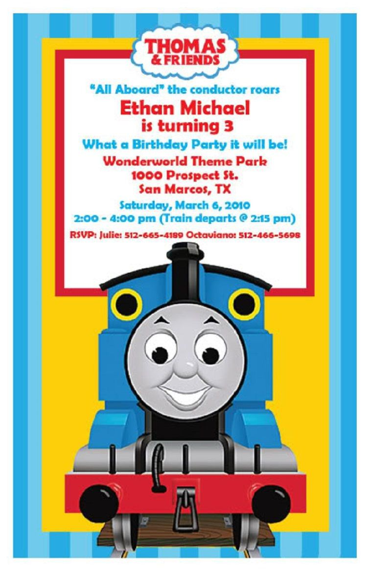Thomas The Train Birthday Invitations Template Free In 2019