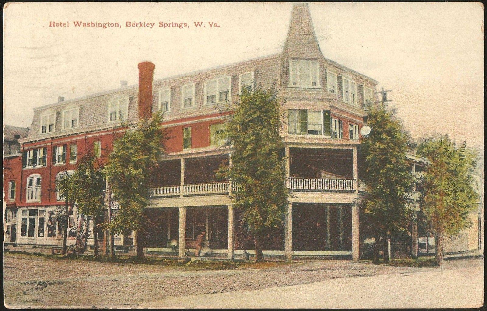 Berland Md To Parkersburg Wv Hotel Washington Berkeley Springs Postcard Postmarked